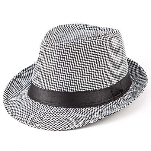 Black Fedora Hats for Men - Men/Women's Classic Short Brim Manhattan Fedora Hat ()