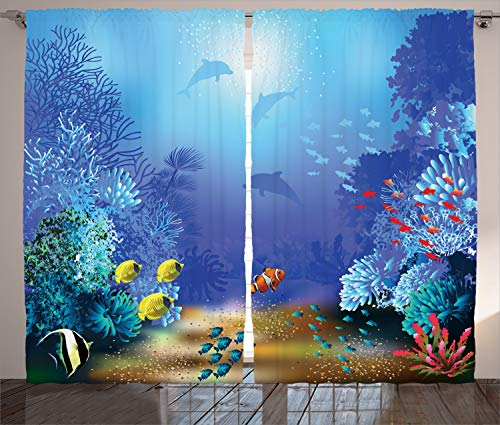 Ambesonne Ocean Animal Decor Curtains, Underwater Coral Reef Polyps Algae Dolphins and Goldfishes Bubbles Deep Print, Living Room Bedroom Window Drapes 2 Panel Set, 108W X 96L inches, Blue Deep Blue Ocean Dolphins