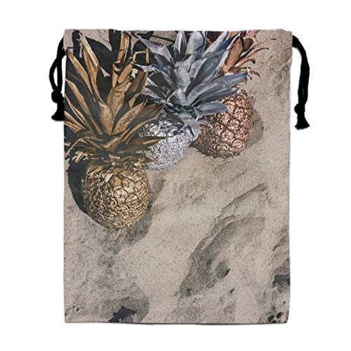 Hair Dryer Bags Cotton Drawstring Bag Container Hairdryer Bag, 11.8 by 15.7 Inch Silver And Glod Pineapples
