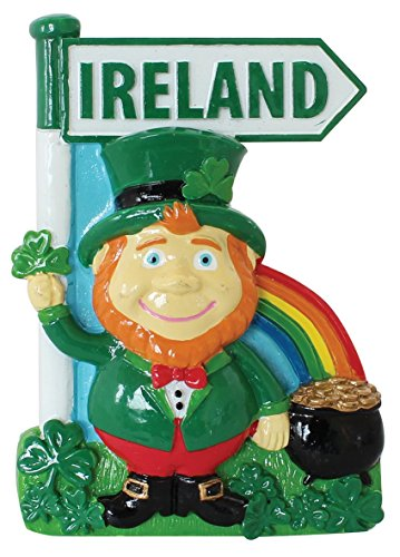 Irish Fridge Magnets (Resin Magnet with Ireland Leprechaun with Rainbow, Pot of Gold and Ireland Sign)