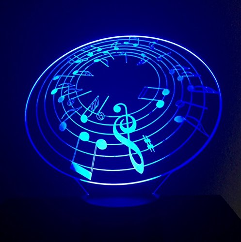 Touch Notes (3D LED Night Light - Music Note Light - Music Lamp - 7 Changing Colors Touch USB - Home Office Desk Lamp - 3D LED Music Light - Desk Light - Wedding Christmas Party Decoration Centerpieces)