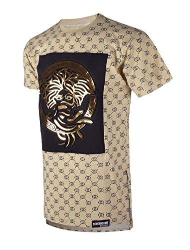 SCREENSHOTBRAND-751 Mens Hipster Hip-Hop Premiun Tees - Luxury Longline Embossed Gold Print T-Shirts - Clothing Luxury Best Brands For Men