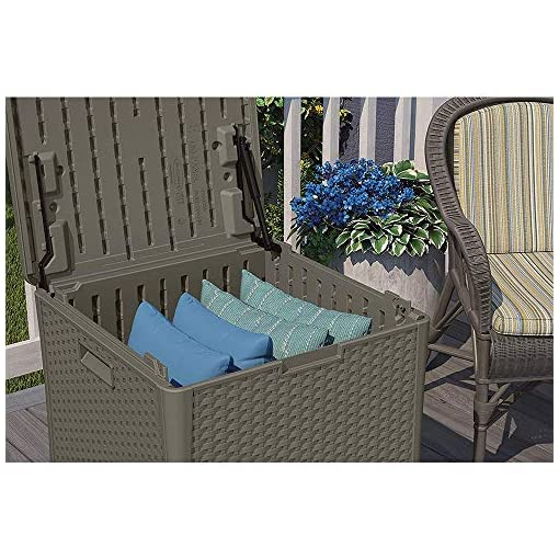 Deck Boxes Suncast 22-Gallon Indoor Outdoor Resin Patio Storage Chest Deck Box and Seat for Patio, Garden, Garage, or Pool for All… outdoor deck boxes