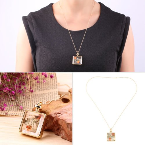Alicenter(TM) New Natural Real Dried Flower Rectangle Locket Glass Pendant Necklace