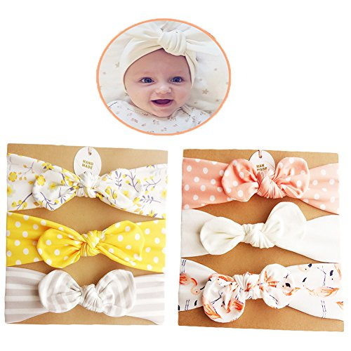 DANMY Baby Girl's Rabbit Ears Headband Cotton Cloth Elastic Hair Band Bow Boy Soft Turban (6pcs Bow(as Shown)) by DANMY