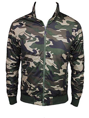 Giacca Militare Uomo Verde Camouflage Giubbino Fit Estivo Slim Mimetico Giubbotto q1ztwt