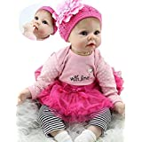 Handmade Reborn Baby Doll Girl Look Real Silicone Vinyl 22 Inches Lifelike Weighted Body Real Life Rose Red Outfit