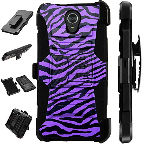 Compatible AT&T Axia (2018) Case Armor Hybrid Silicone Cover Stand LuxGuard Holster (Purple Zebra Skin)