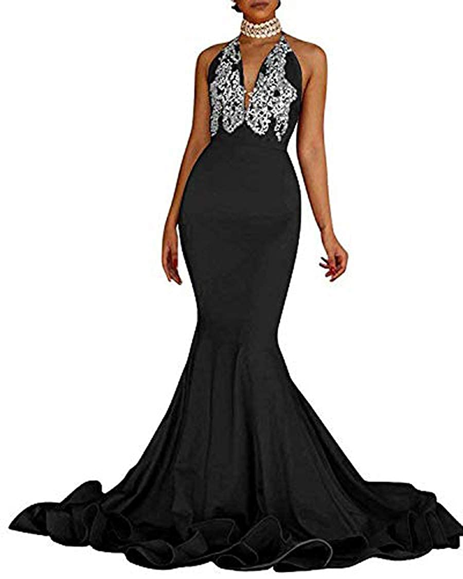 900512488120 MariRobe Women's Appliques Halter Neck Mermaid Evening Dress Backless  Sleeveless Prom Dresses Long Formal Gowns at Amazon Women's Clothing store: