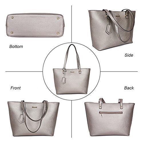 ELIMPAUL Bag Handle Tote Shoulder 4pcs Silver Satchel Grey Top Women Fashion Purse Bag Handbags Set paqwWpBrR