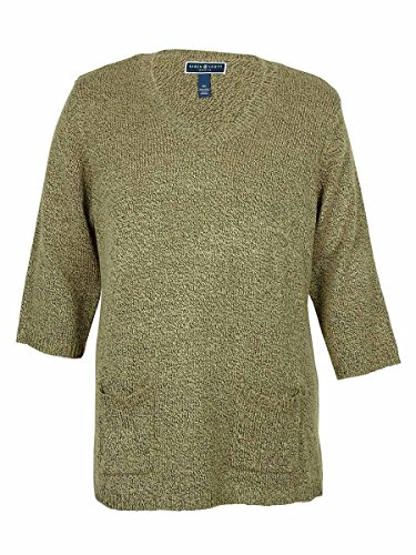 Karen Scott Women's V-Neck Marled Tunic Sweater (Chestnut, 1X)