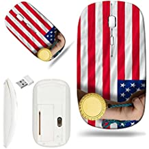 Luxlady Wireless Mouse White Base Travel 2.4G Wireless Mice with USB Receiver, 1000 DPI for notebook, pc, laptop, macdesign IMAGE ID: 20355977 Winner holding gold medal for sport and national flag of