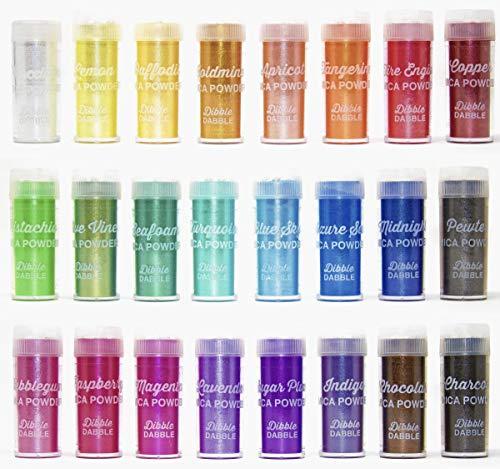 (Mica Powder 24 Color Shake Jars - Huge 240g/8.47oz Set - Premium Cosmetic Grade Mica Powder for Epoxy Resin, Slime Coloring, Soap Colorant, Bath Bomb Colorant, Tinted Lip Balm, Nail Art)