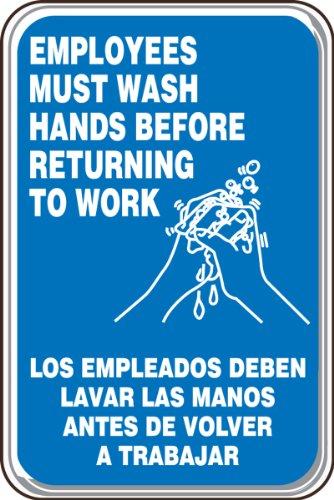 Trabajar Sign - Accuform SBPAR590 Architectural-Style Acrylic Plastic Spanish Bilingual Deco-Shield Sign, Legend