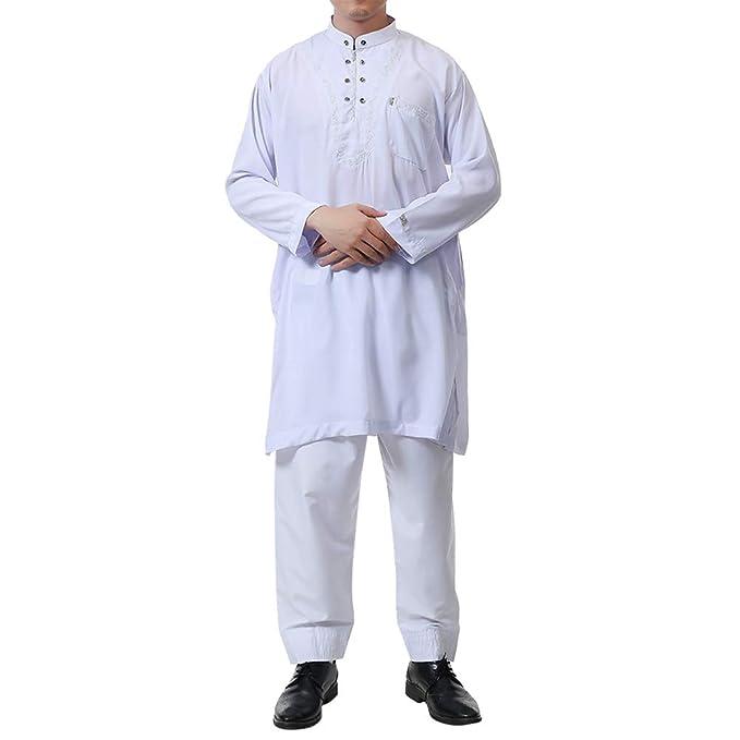 2050c9d2b Zhhlinyuan Camisa de Vestir de Manga Larga saudí árabe para Hombre ...
