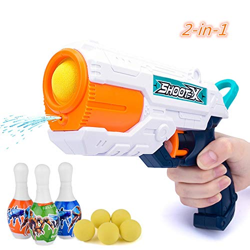 QDH Blasters Toy Gun Water Gun 2 in 1, Foam Ball Gun Toy Guns with Target and Soft Bullets Popper Gun Toy for Kids Ages 3 & Up
