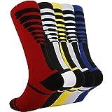 KoolHour Mens Womens Cushion Dri-Fit Team Performance Over The Calf Tube Crazy Fashion Bone Colorful Soccer Basketball Athletic Socks,5 Pairs