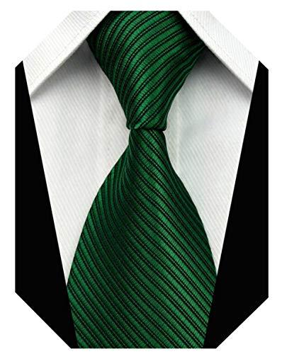 Wehug Men's Classic Solid Tie Silk Woven Necktie Jacquard Neck Green Ties For Men -