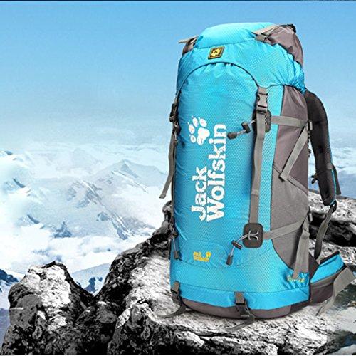 Outdoor-Klettern Tasche mit großer Kapazität wasserdichtem Nylon-Rucksack im Freien Wanderrucksack blau 50L W4quf