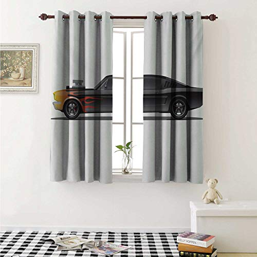 (shenglv Cars Decorative Curtains for Living Room Custom Design Muscle Car with Supercharger and Flames Roadster Retro Styled Curtains Kids Room W72 x L72 Inch Charcoal Grey Orange)