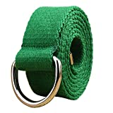 WUAI Canvas Belt Adjustable Belts No Buckle Tactical Breathable Military Waistband Belts(Green,One Size)