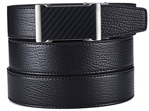 plyesxale Men's Leather Ratchet Dress Belt- Length is Adjustable - Delicate Gift Box (Waist Size:26-36'', Black Belt K124S10) by plyesxale