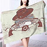 PRUNUS 100% Premium Quality Bath Towel and Banner with Two Guns Hat Pistols Poker Ace Cowboy Texas Chesnut Brown Soft & Absorbent