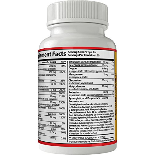 Amazon.com: Vitaminas Para El Cerebro Para La Memoria Atención Y Concentración | Pastillas Para La Memoria y Atención, Concentración, Cogniva 100% Naturales ...
