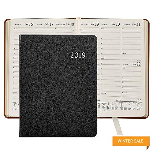 2019 BLACK Goatskin Leather 9in Desk Diary by Graphic ImageTM - 7x9 ()