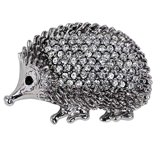 Hiddleston Cute Silver Baby Hedgehog Porcupine Critter Animal Brooch Pin Broach Easter Party Brooch Pin Gift Costume Accessories for Women Teen Girl -
