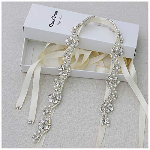 QueenDream Women's Crystal Diamond Bridal Belt Sashes Ivory Wedding Belts Sash for Wedding