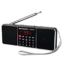 Tivdio L-288 FM AM Radio Portable and Rechargeable Wireless Multimedia and MP3 Player AUX with Built-in Speakers and LCD Display(Black)