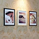 Photo Wall Wood Frame Wall Modern Fashion Bedroom Living Room Creative 3 Picture Combination Of Stereo Visual Effects (Color : Black Wood)