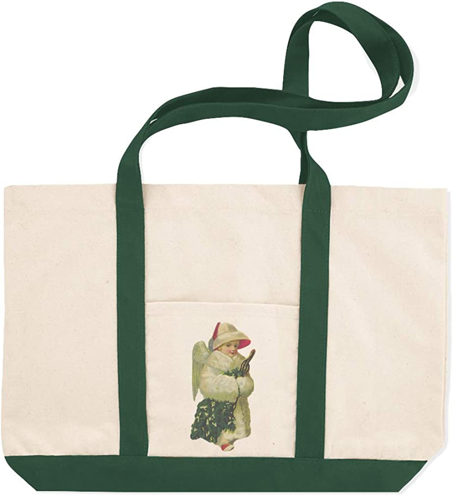 Canvas Shopping Tote Bag Angel Holding A Christmas Tree C Characters Women Coat Beach for Women