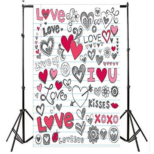 Fanteecy 4.9X 2.96Ft Valentine's Day Photography Backdrops Symbol of Love Heart Photo Backgrounds Wall Curtains Party Studio Photobooth Props (Multicolor B) ()