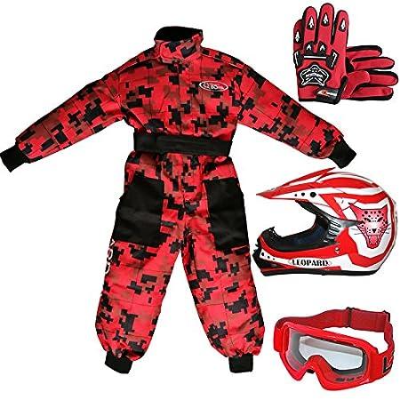 Leopard LEO-X17 Red Kids Motocross Motorbike Helmet (XL 55cm) & Gloves (XL 8cm) & Goggles + Kids CAMO Motocross 1PC Suit (M 7-8Yrs) Touch Global Ltd