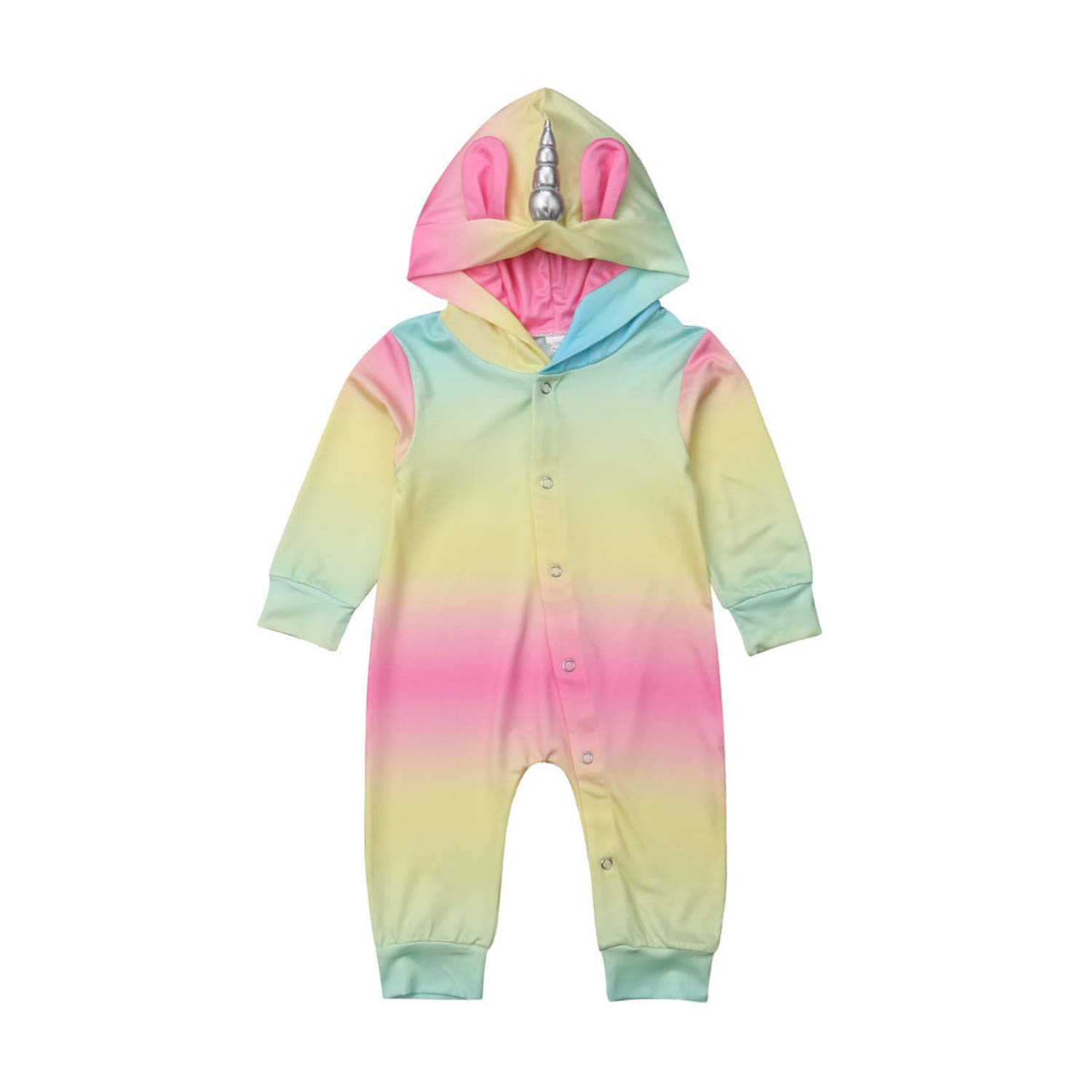 Cute Newborn Baby Young Man Girl Long Sleeve Unicorn Hooded Romper Jumpsuit Playsuit Outfits Baby Clothes Princess or Queen Prince