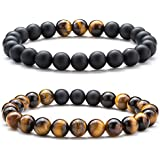 Hamoery Men Women 8mm Tiger Eye Stone Beads Bracelet Elastic Natural Stone Yoga Bracelet Bangle (Set1)