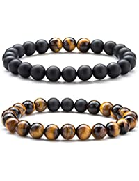 Men Women 8mm Tiger Eye Stone Beads Bracelet Elastic...