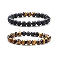 Men Women 8mm Tiger Eye Stone Beads Bracelet Elastic Natural Stone Yoga Bracelet Bangle-21003