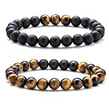 Hamoery Men Women 8mm Couple Beads Bracelet Elastic Natural Stone Yoga Bracelet Bangle (Set1)