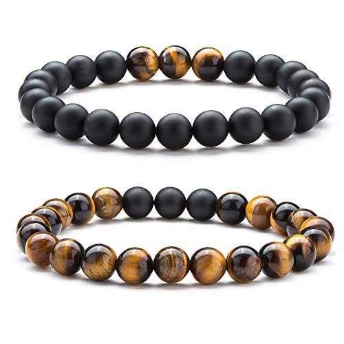 (Hamoery Men Women 8mm Couple Beads Bracelet Elastic Natural Stone Yoga Bracelet Bangle (Set1))