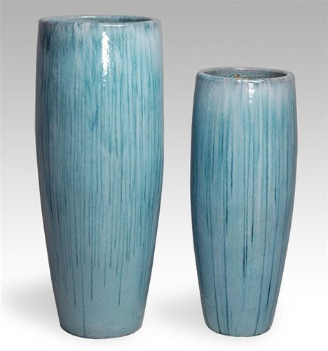 Tall Cylinder Ceramic Planter - Light Blue