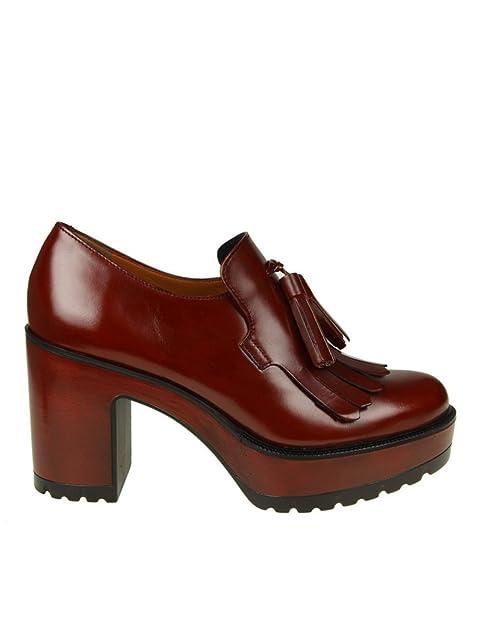 Pons Quintana Mocasines de Otra Piel Para Mujer Rojo Granate, Color Rojo, Talla 35.5: Amazon.es: Zapatos y complementos