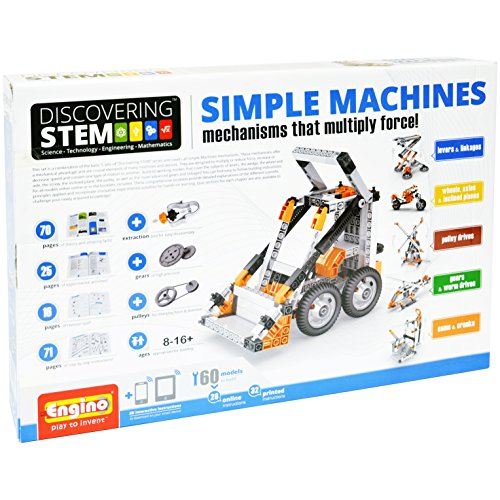 Engino Discovering STEM Simple Machines Mechanisms That Multiply Force | 60 Working Models | Illustrated Instruction Manual | Theory & Facts | Experimental Activities | STEM Construction Kit