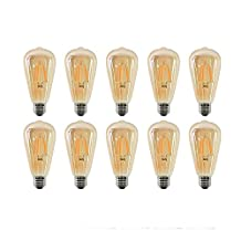 10-Pack NITOR Lighting ST64 LED Filament bulb, Vintage Edison LED light bulb, DIMMABLE Antique style LED, 6W LED ST64 replaces 40W Incandescent bulbs, 600 Lumens Amber Colour Light, Elegant Amber Tinted Lens , E26 Medium Base Easy Install LED, 360 Degree Light, COB Technology, Pack Of 6, UL Certified & Listed