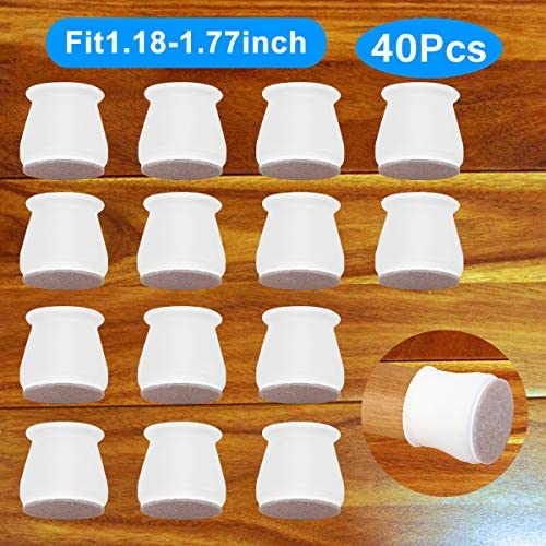 Lnlofen 40Pcs Furniture Silicon Protection Cover Silicone Chair Leg Floor Protectors CapsAnti-Slip Felt Pads Round & Square Furniture Table Feet Covers Protect Your Floors from Scratches