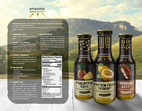 Buy One - Get One Free!!! - Amazonia's Gourmet Dressing and Cooking Sauce Variety 2-Pack Value (Passion Fruit and Pineapple), Gluten-Free, No Trans Fat, 100% Natural Flavors - 24 ounces by Amazonia (Image #5)