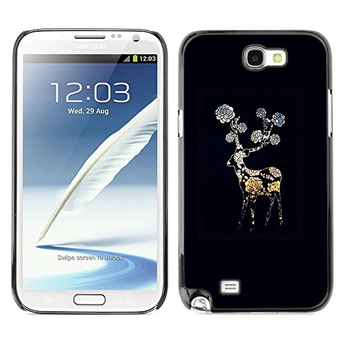 Soft Silicone Rubber Case Hard Cover Protective Accessory Compatible with SAMSUNG GALAXY? NOTE 2 & N7100 - black night flower gerbera