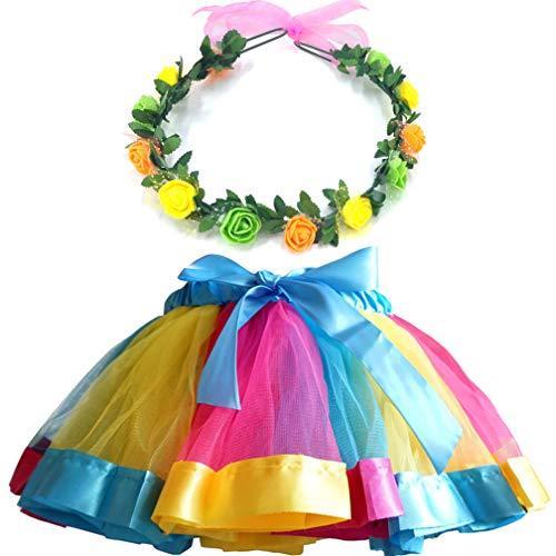 MY-PRETTYGS Layered Tulle Ballet Rainbow Tutu Skirt with Flower Crown Wreath Headband (Gold, L,4-8T) ()